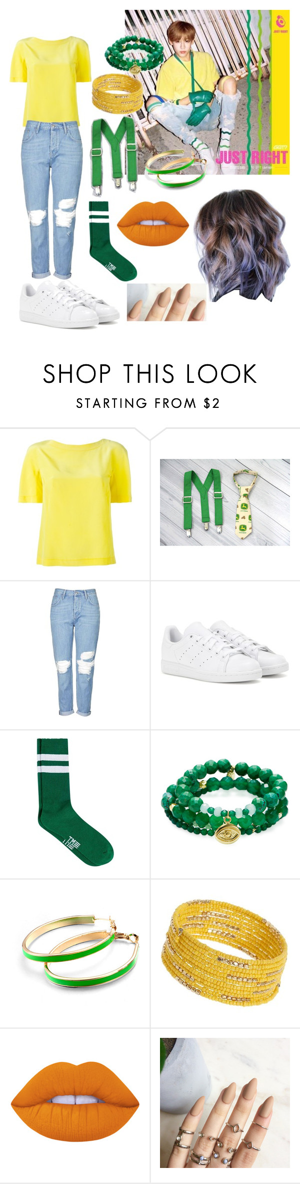 """Got7/BamBam/Just Right"" by emili-ruiz ❤ liked on Polyvore featuring Julio, Alberta Ferretti, John Deere, Topshop, adidas, Topman, Good Charma, Dorothy Perkins and Lime Crime"