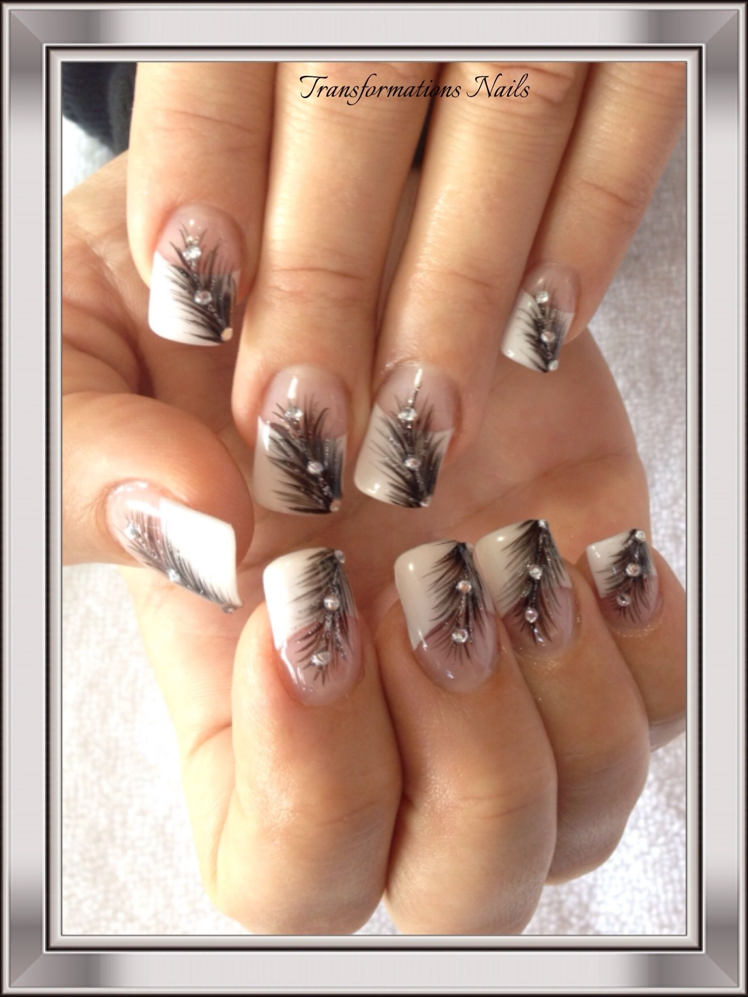 feather nails #diamond nails #french nail. | Nail Themes | Pinterest