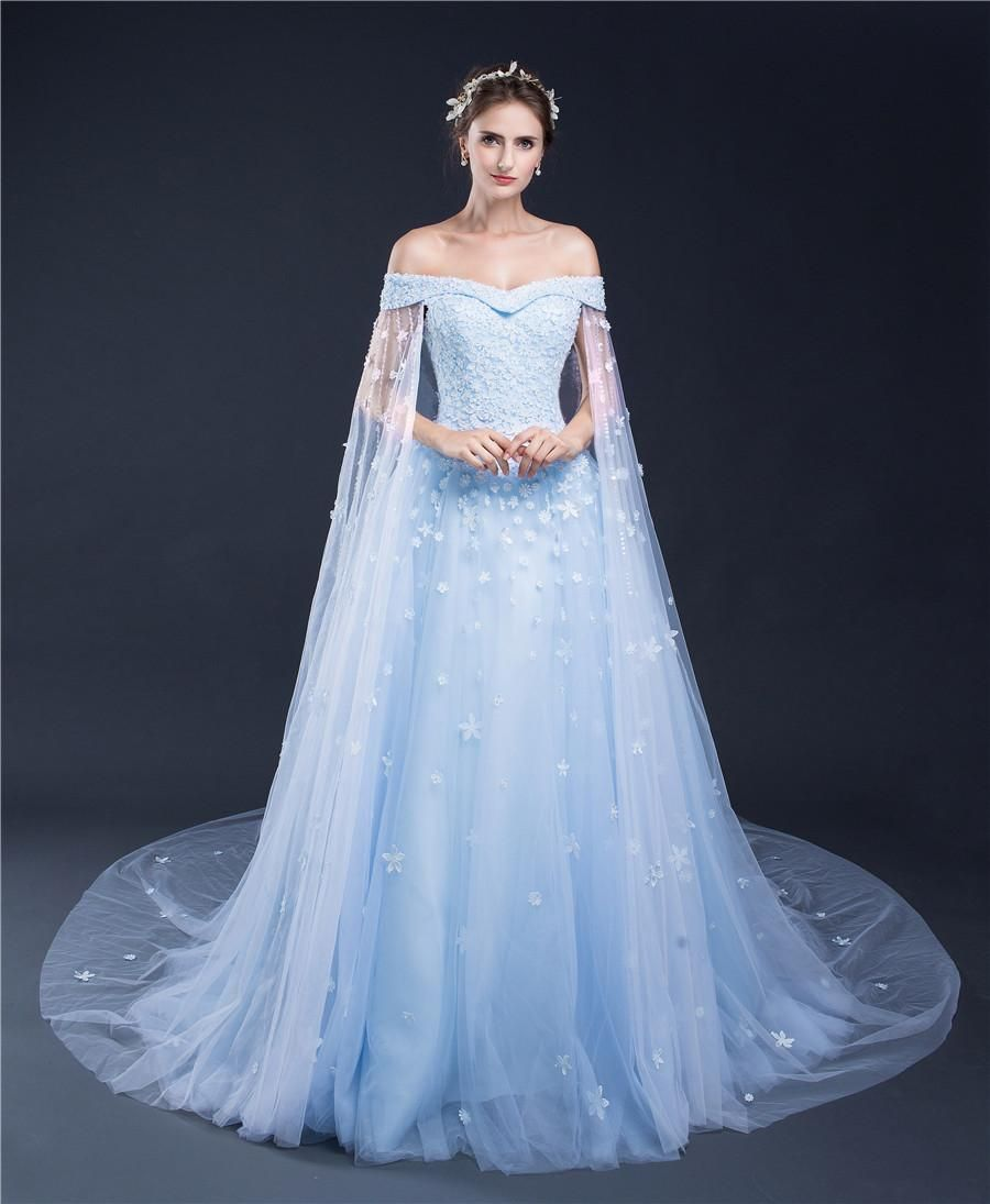 light blue bridal gowns women luxury new train flower lady with