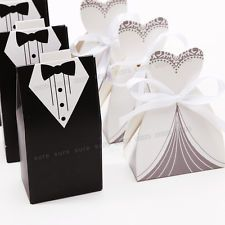 Pack of 200 Boxes Wedding Party Favor Sweet Boxes With Ribbon Bride and Groom