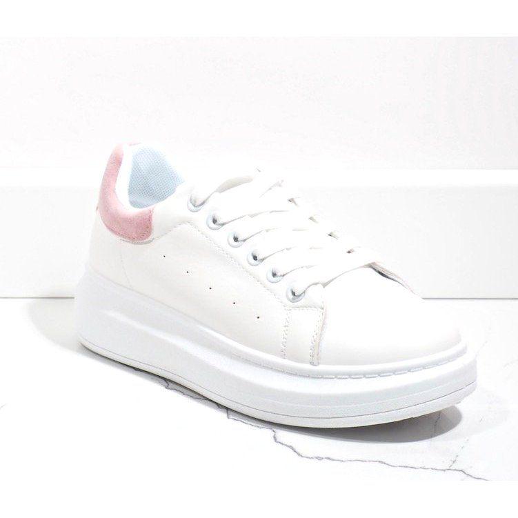 Biale Trampki Na Grubej Podeszwie 7935 Sp Rozowe White Sneaker Adidas Sneakers Adidas Stan Smith