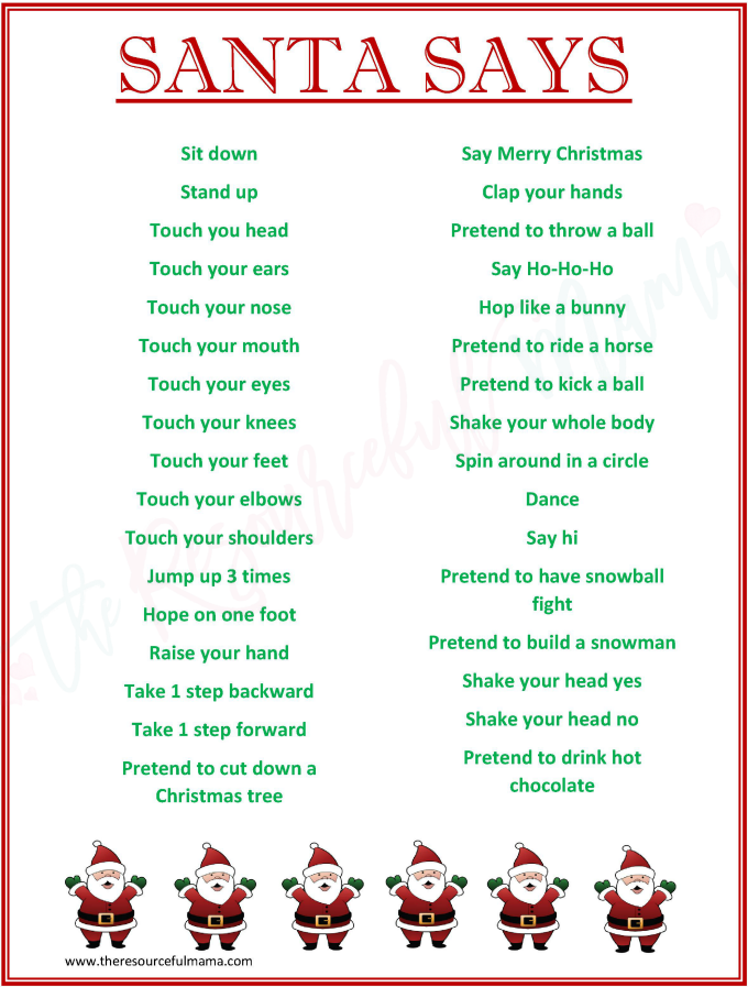 image relating to Free Printable Christmas Games for Adults named Santa Suggests Sport for Xmas Functions Totally free PRINTABLE