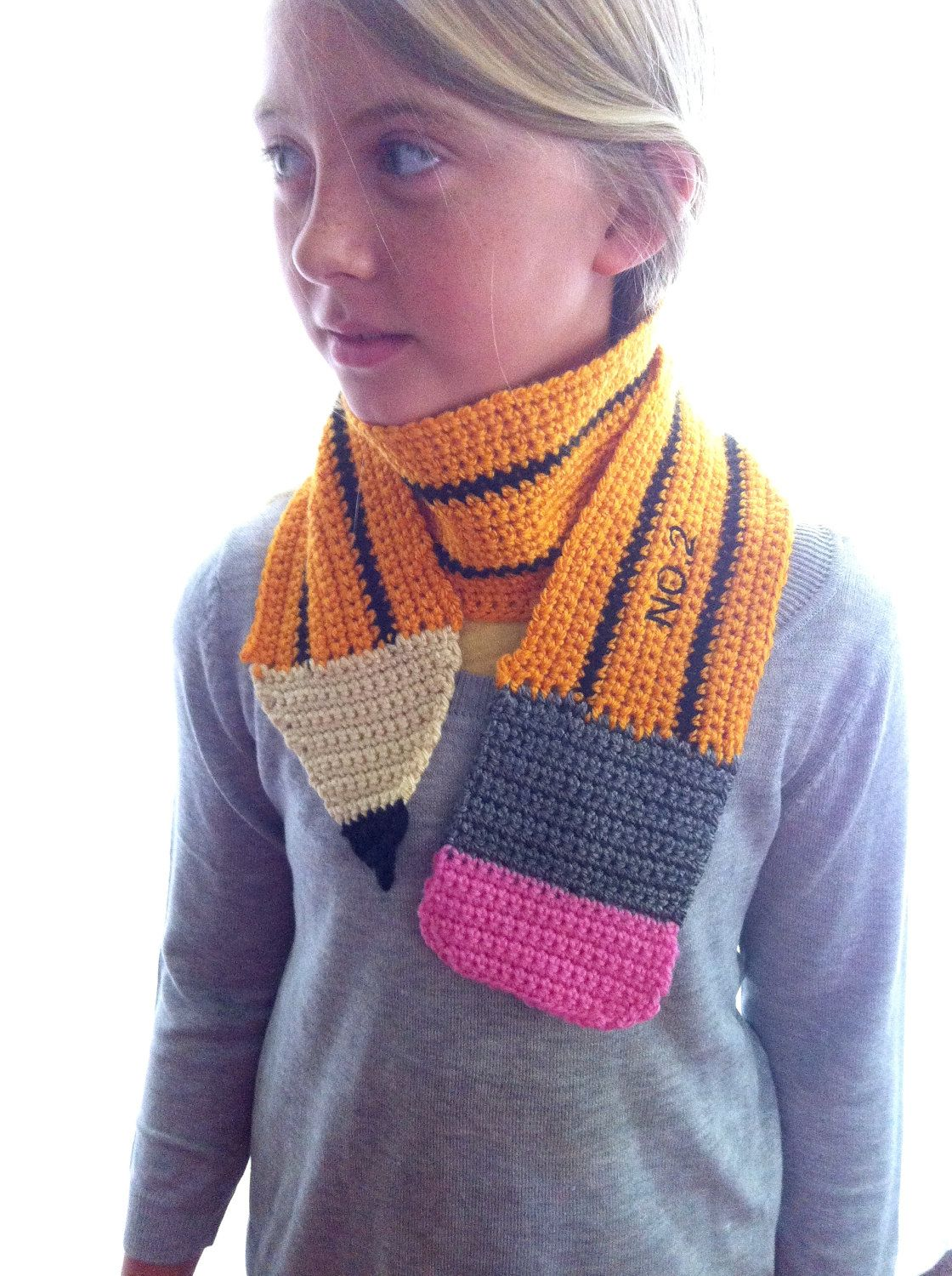 Kids / Children\'s Knit CUSTOM PENCIL SCARF hand made crochet. $29,99 ...