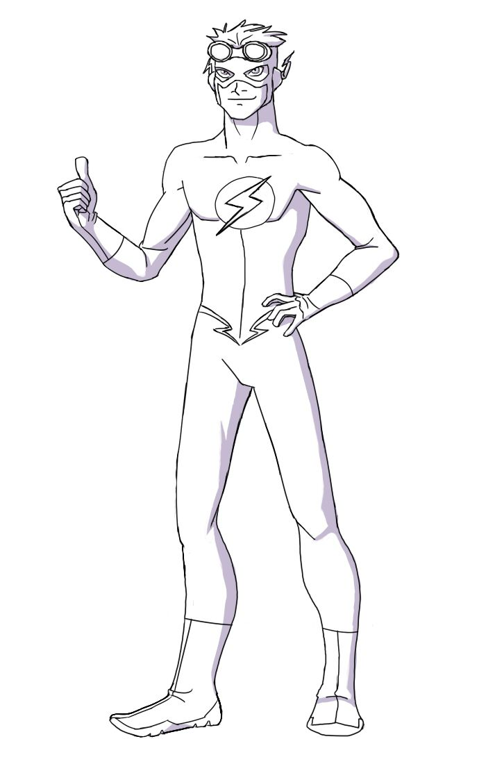 Young Justice Kid Flash How To Draw Kid Flash Lineart By