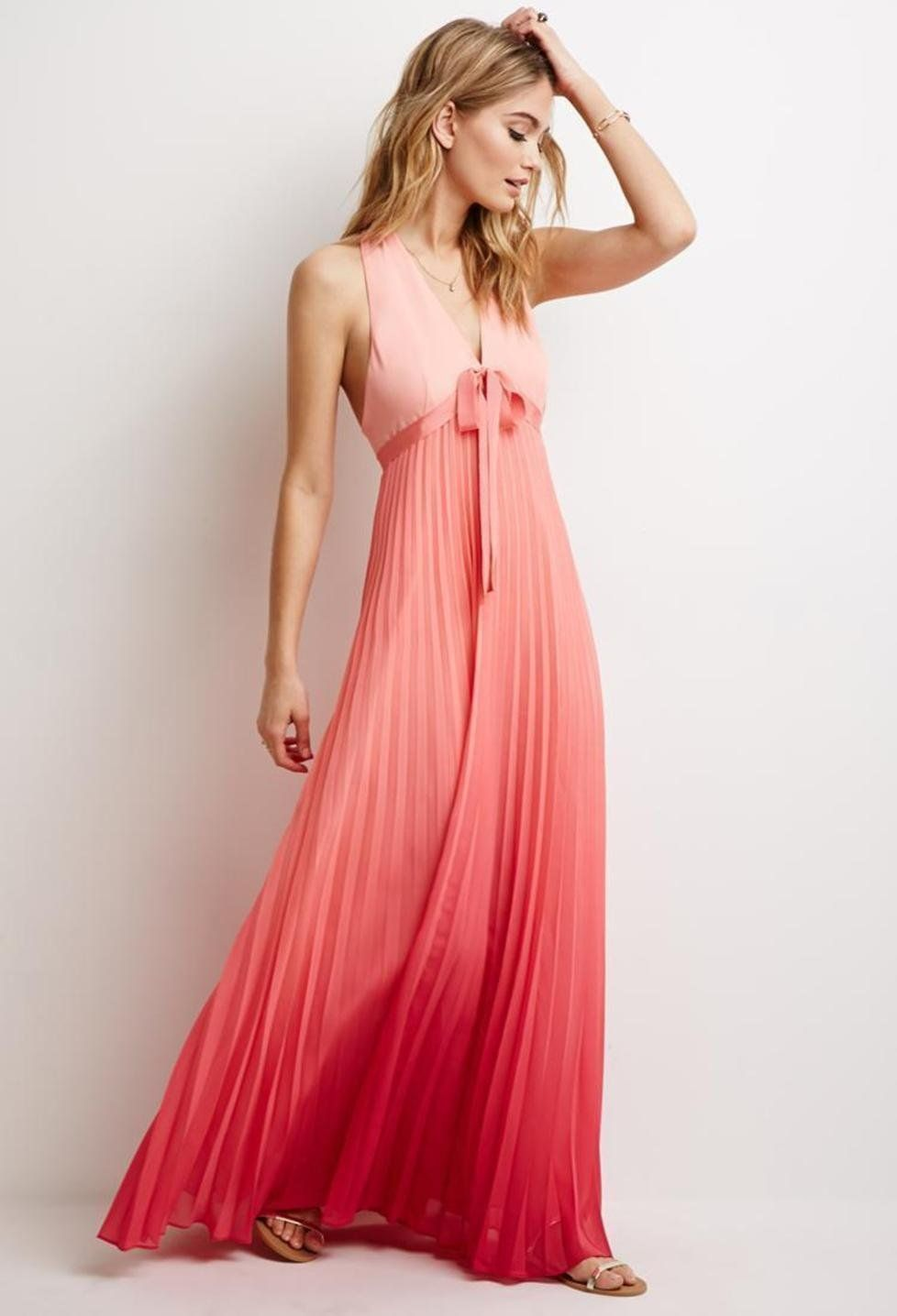 coral-slash-hot-pink-pleated-maxi-dress- | Pleated Maxi Dress ...