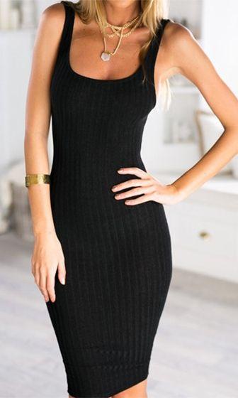 ca03762c05 Dance To The Rhythm Black Sleeveless Scoop Neck Bodycon Ribbed Sweater Knit  Midi Dress