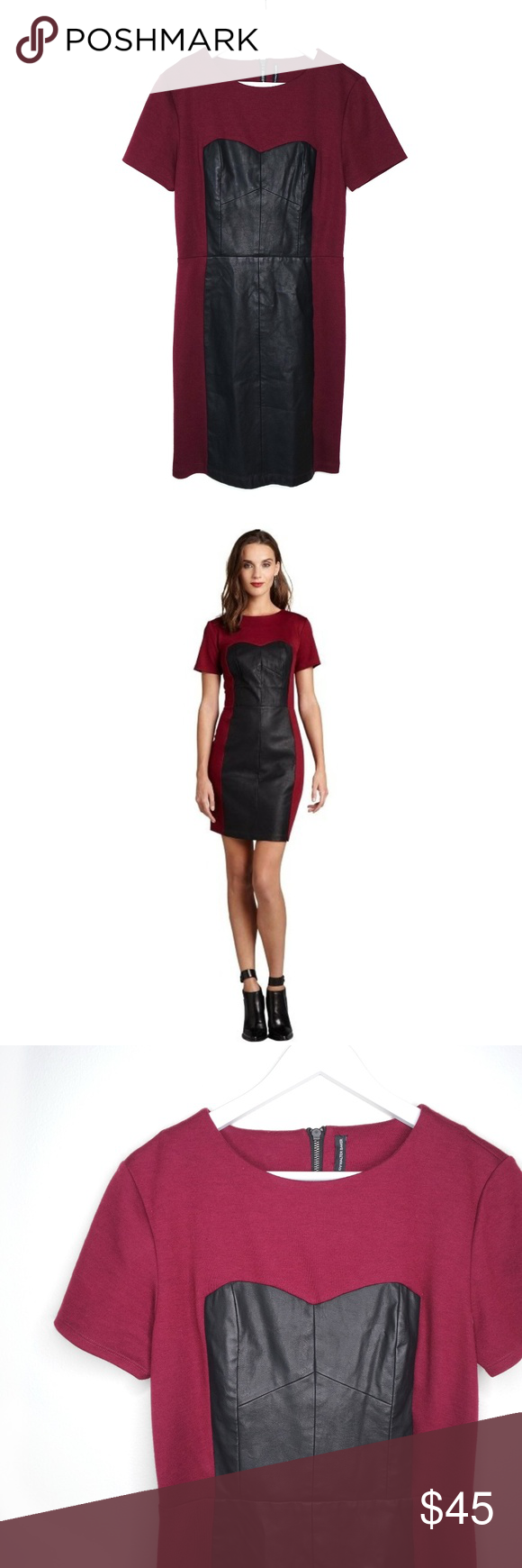 Walter Baker burgundy & faux leather Matilda dress