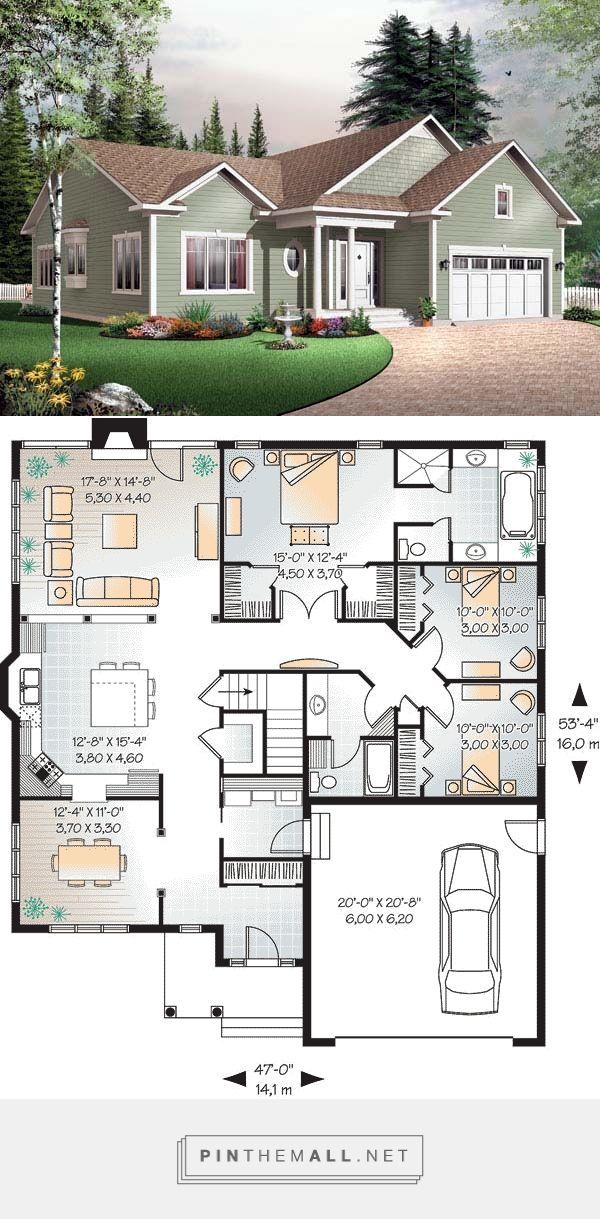 Bungalow Style House Plan 65432 With 3 Bed 2 Bath 2 Car Garage Bungalow Style House Plans Beach House Floor Plans Dream House Plans