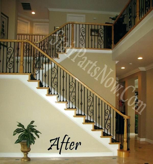 Best Lj Smith Handrail Iron Balusters With Shoes Box Newels 400 x 300