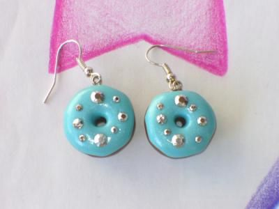 orecchini ciambelle azzurre