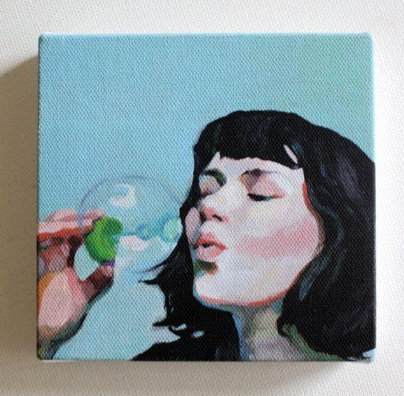 Jenny / kleine Leinwand drucken  Drucken Portrait von tushtush