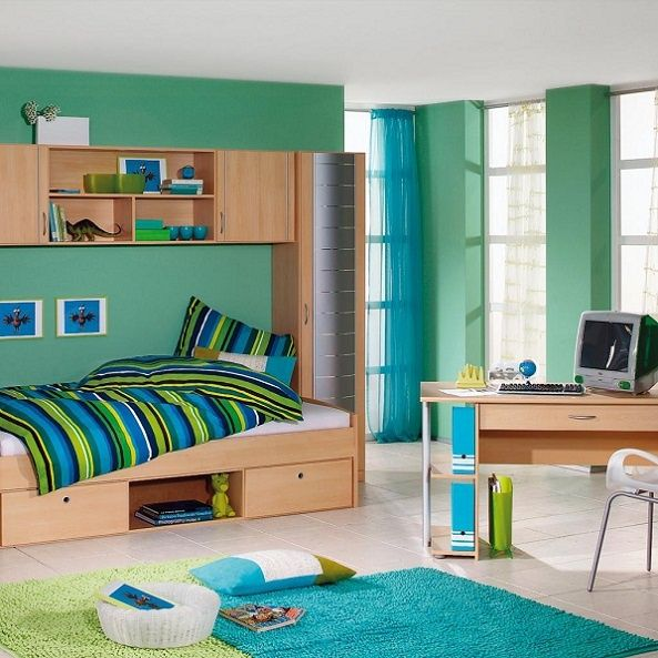Boys Small Bedroom Ideas for a small older boy room with homework table. #kids #boy #teen