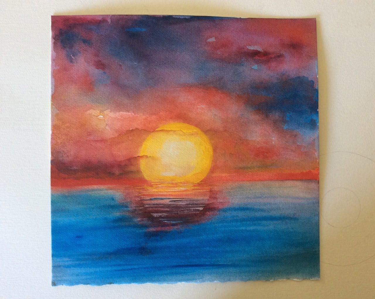 Watercolor Sunset Ocean Google Search Watercolor Ocean
