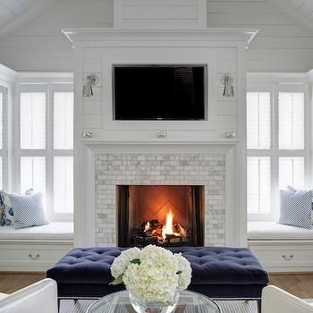 bedroom fireplace with built in window seats, transitional