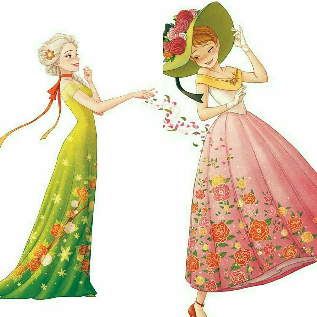 Anna and Elsa in their beautiful spring dresses