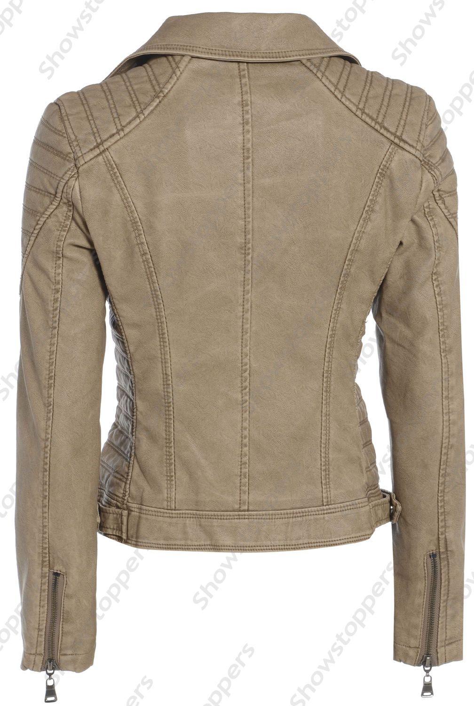 Size 8 10 12 14 16 NEW Womens BIKER JACKET FAUX LEATHER Ladies ZIP Coat Black