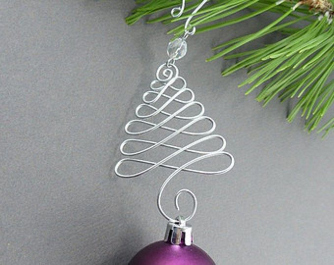 Five Beaded Christmas Ornament Hooks Wire Ornament Hangers With