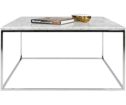 Marmor Couchtisch Gleam Tischplatte Weiss Marmoriert Gestell Chrom Couchtisch Marmor