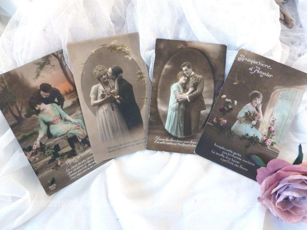 VENDU - 4 anciennes cartes postales d'amoureux (avec images) | Carte postale, Cartes