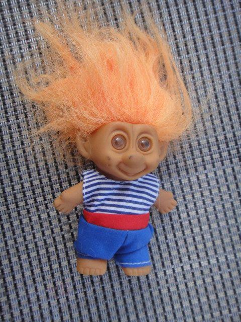 Vintage Orange Hair Troll Blue Stripe Shirt Red by ShoppingLounge
