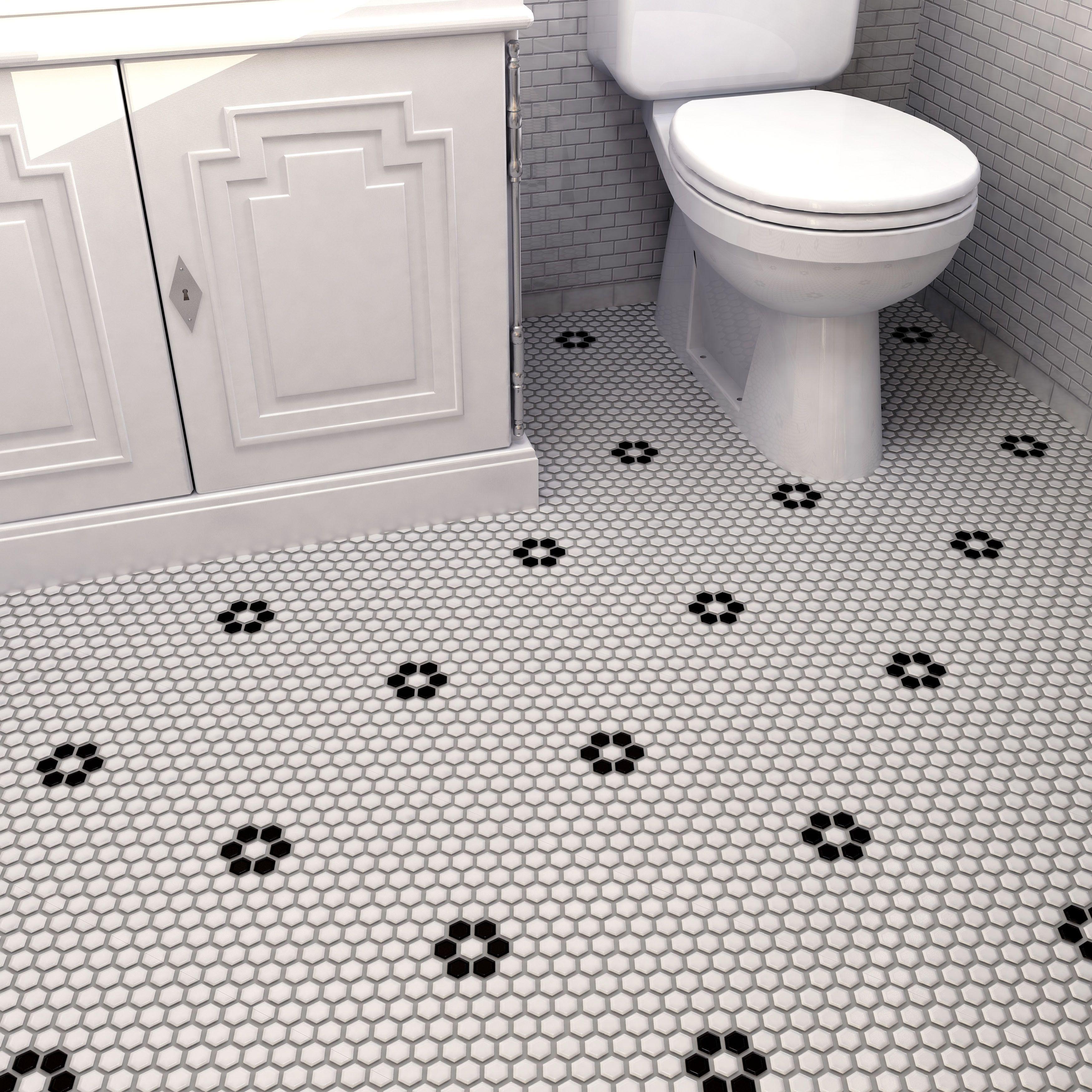 Elitetile Retro Hexagon 0 875 X 0 875 Porcelain Mosaic Tile In Glazed White Black Mosaic Flooring Wall Tiles Flooring