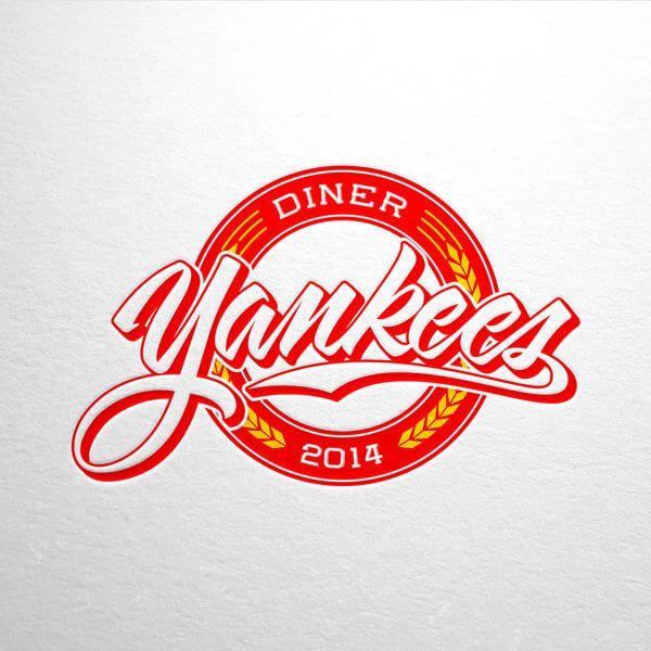 Logo Design For Yankees Diner A Diner Themed On The Baseball Team New York Yankees Diner Logo Logo Design 80s Logo