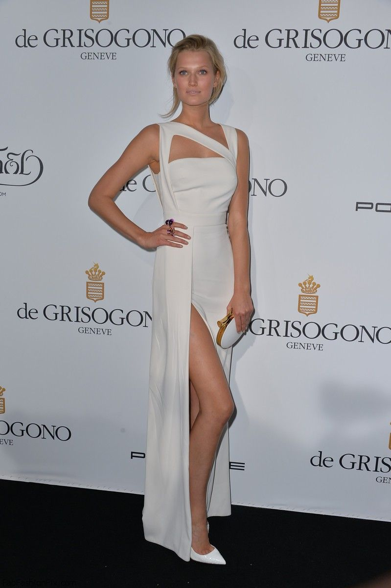Toni Garrn in Elie Saab dress at the Grisogono Party at the Eden Roc Hotel at Antibes as part of the 67th Cannes Film Festival.
