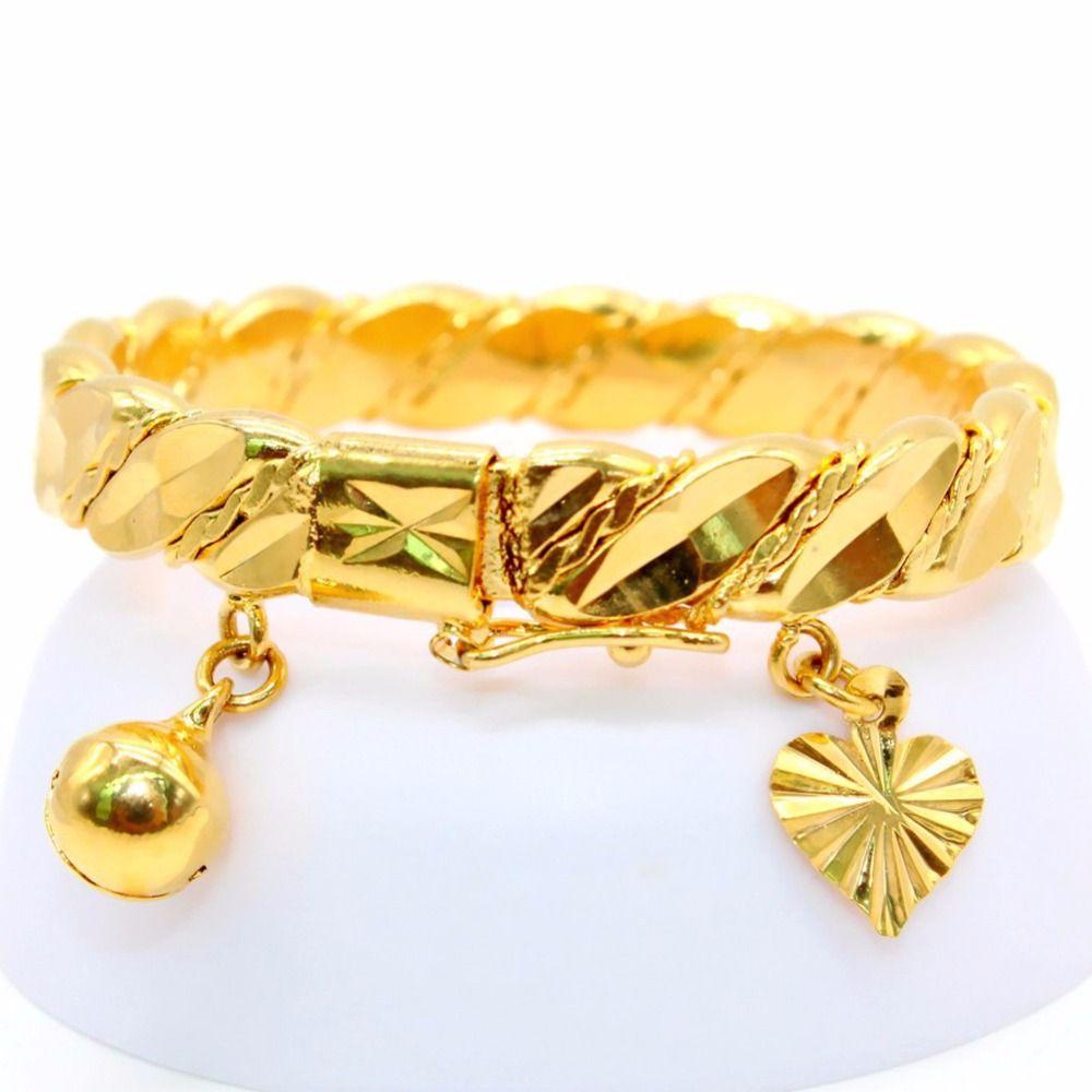 Gold color bell heart charm bracelet children boys girls baby kids