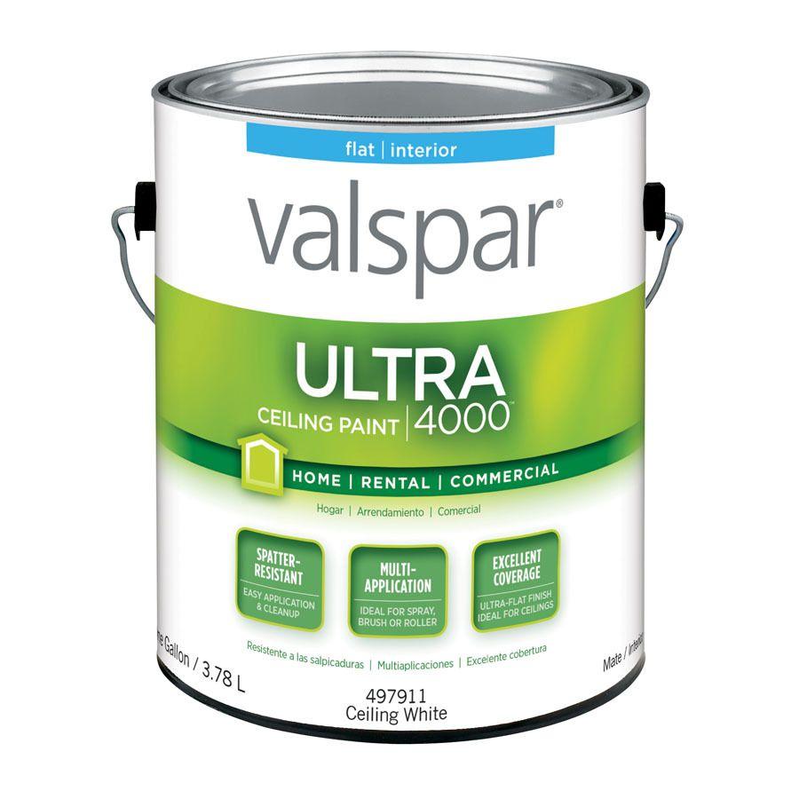 Valspar Pro Contractor Coat Flat Ceiling White Interior Paint 1 Gallon Lowes Com White Interior Paint Exterior Paint Enamel Paint