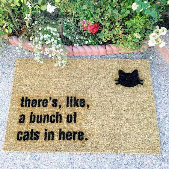 """Indoor//Outdoor Mat//Welcome Mat//Porch Mat /""""We Decorate With Cats/"""""""