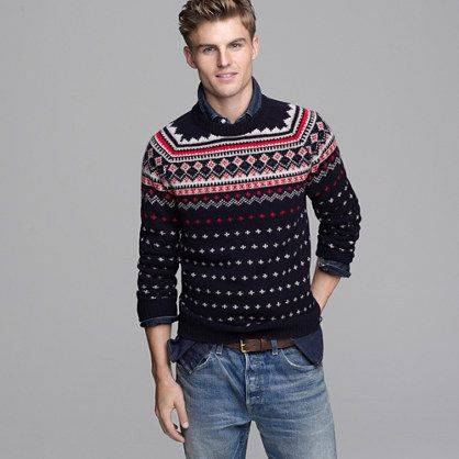 J. Crew Lambswool Fair Isle sweater in navy (fall 2011) | Wear ...