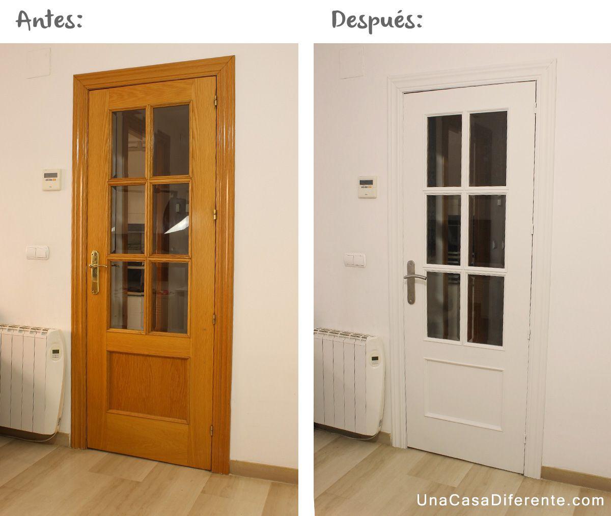 Aprende c mo pintar puertas de madera en blanco sin lijar - Pintar madera de blanco ...