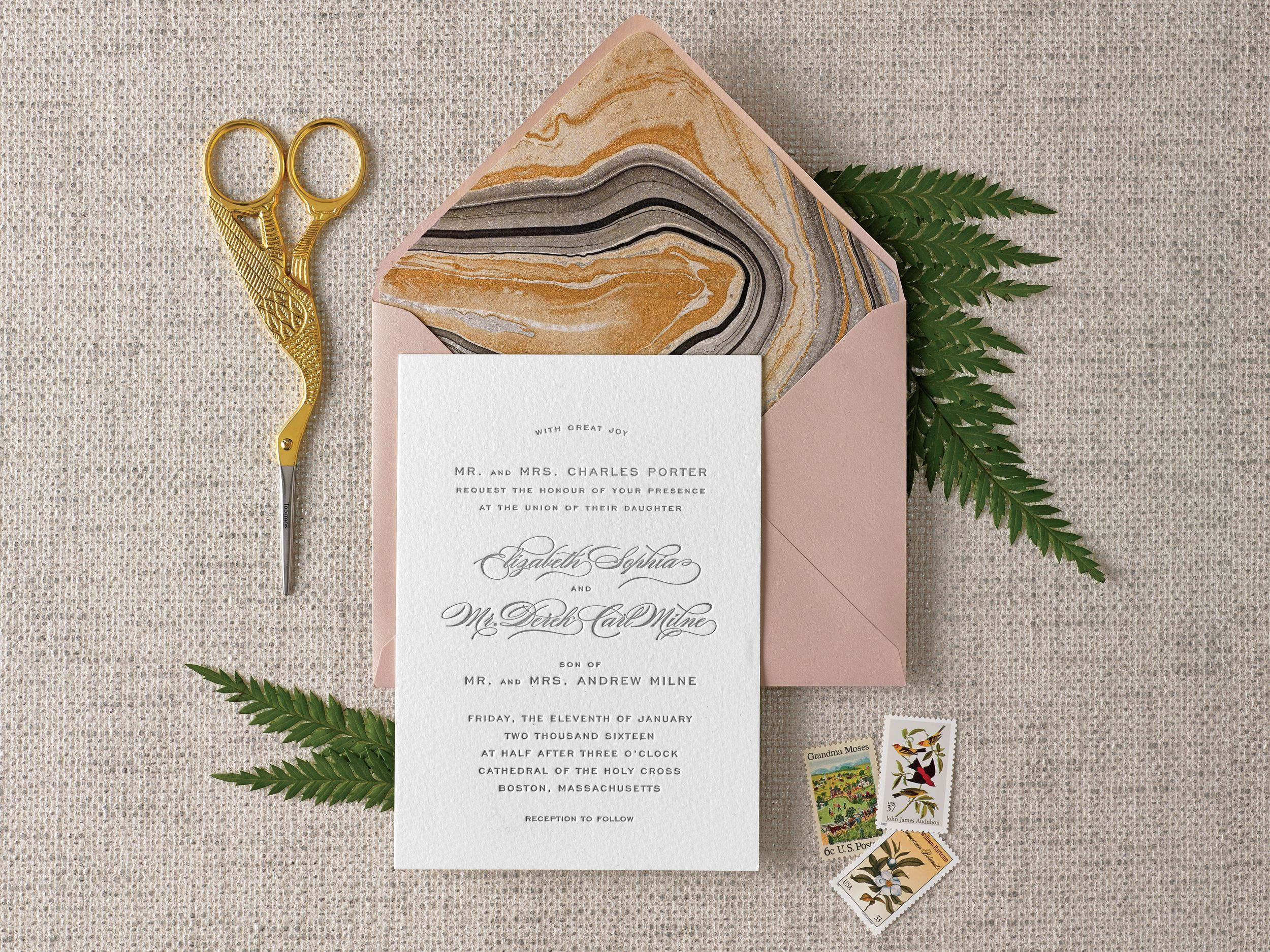A pretty envelope liner instantly elevates your wedding invitations