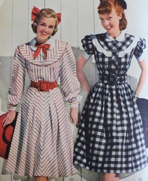 03e024f7451f 1948 Aldens teen stripe plaid dresses. 1948- Plaids and Stripes. These less  frilly style dresses would have been worn by older teens.