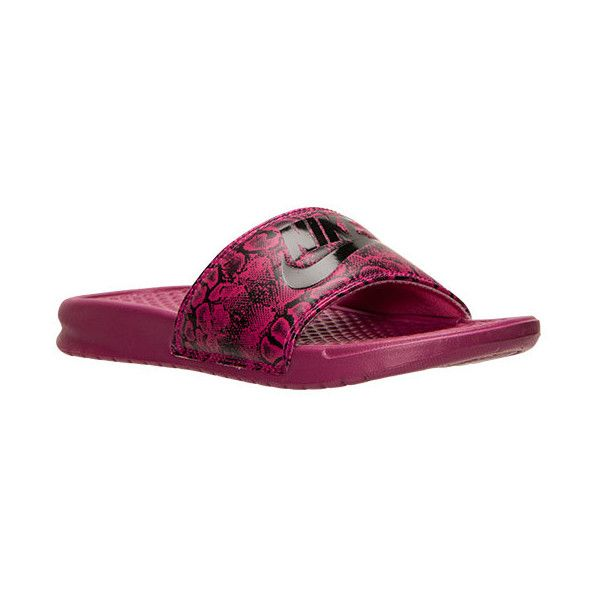 Women's Nike Benassi JDI Print Slide Sandals ($15) ❤ liked on Polyvore featuring shoes, sandals, sports shoes, sport shoes, faux leather shoes, nike sandals and slide sandals