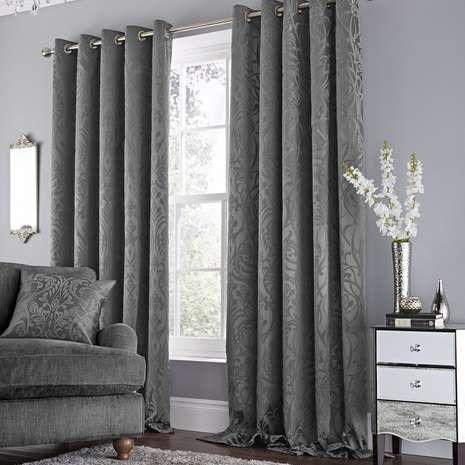 b02e5e8a57e Harrow Grey Lined Eyelet Curtains