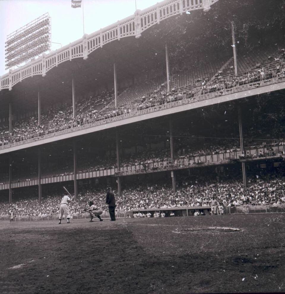 Mickey Mantle Batting At Yankee Stadium In 1955 Yankee Stadium Baseball Stadium Major League Baseball Stadiums