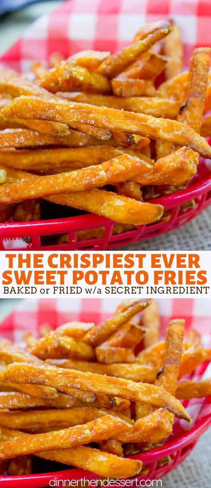 Knusprige Süßkartoffel-Pommes, die perfekt knusprig sind und im Mittel ... -