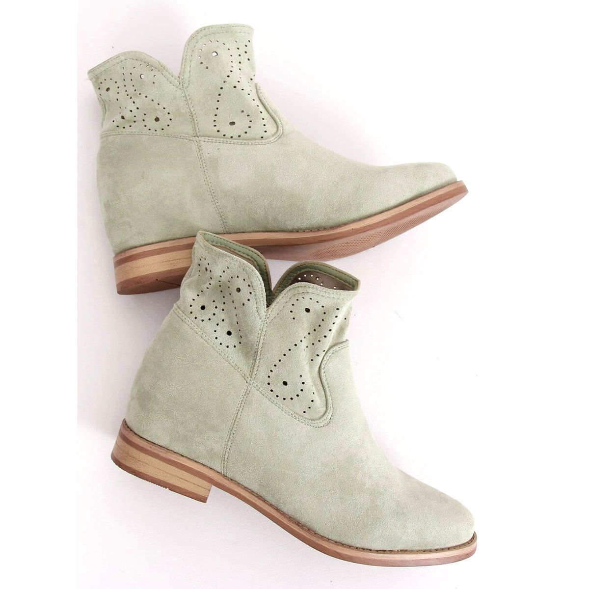 Botki Azurowe Seledynowe Nc1000 Green Zielone Boots Ankle Boot Shoes