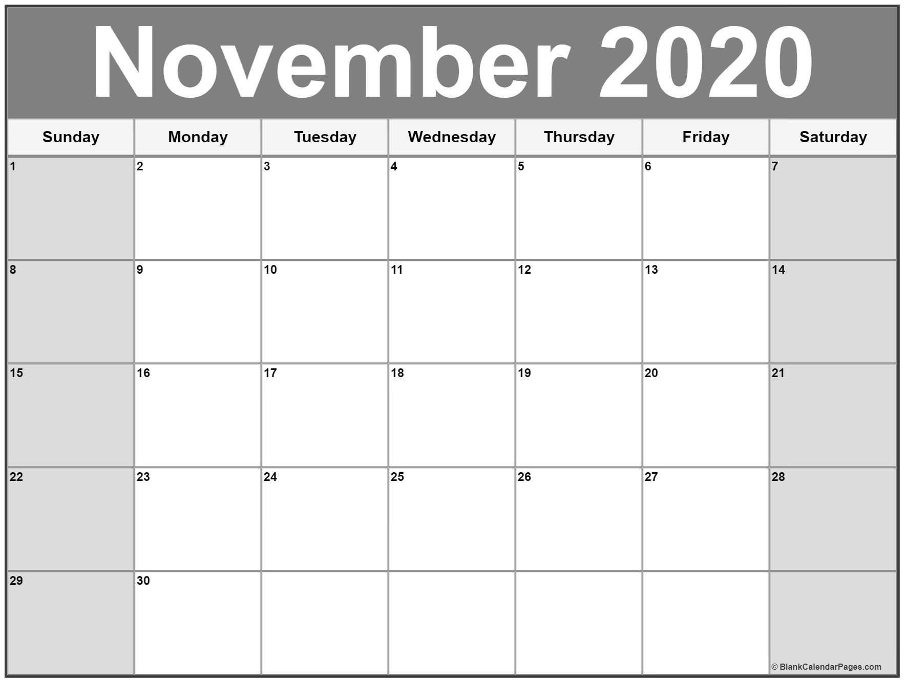 November 2020 Calendar Printable.November 2020 Calendar Printable Monthly Calendars Calendar