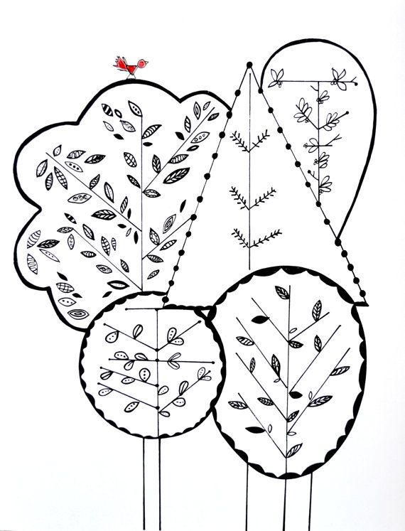 Red House Drawing: Red Bird's Home. Tree Print In Black And White. (With