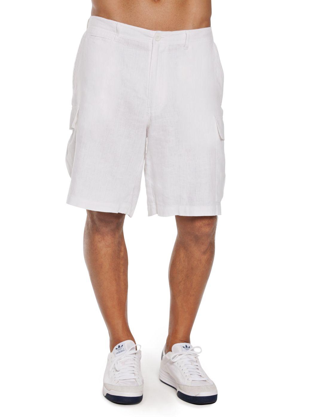White Linen Explorer Cargo Shorts for Men | Island Company | Club ...