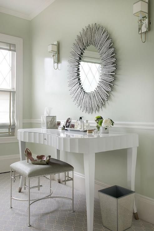 White Glam Vanity Table With Arteriors Prescott Oval Silver Leaf Large  Mirror   Transitional   Bedroom