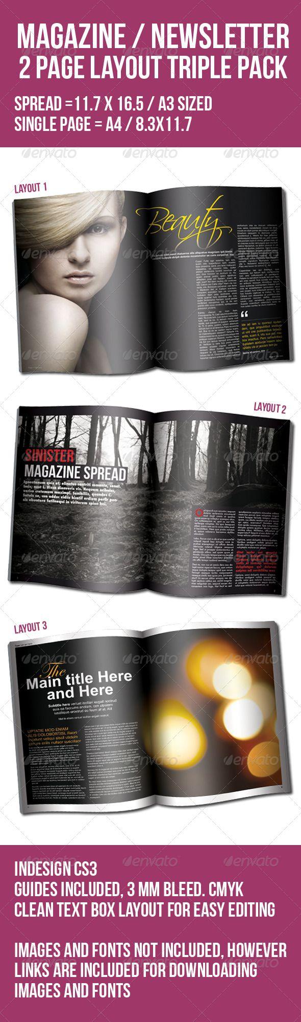 2 Page Layout Magazine /Newsletter Triple Pack | Pinterest | Layouts ...