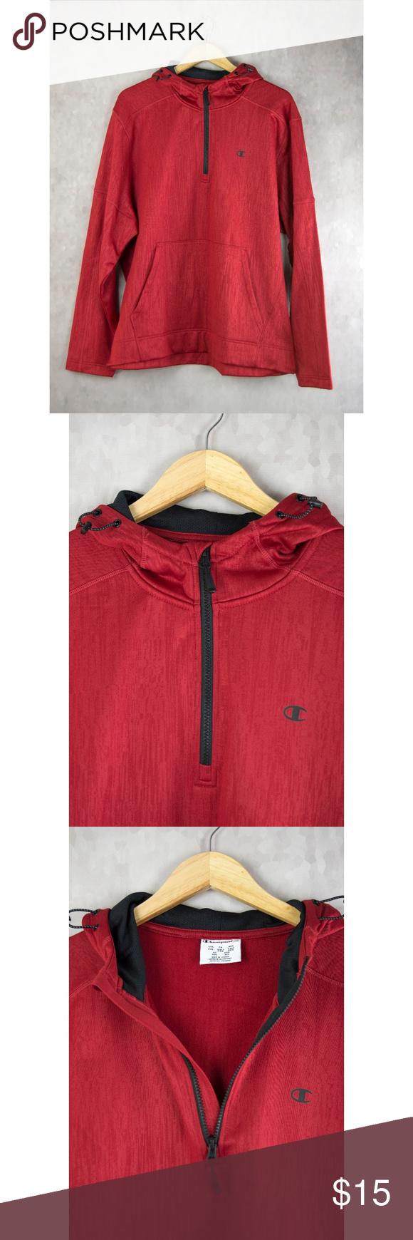 Champion Elite Red Half Zip Hooded Sweatshirt Xxl Hooded Sweatshirts Clothes Design Sweatshirts [ 1740 x 580 Pixel ]