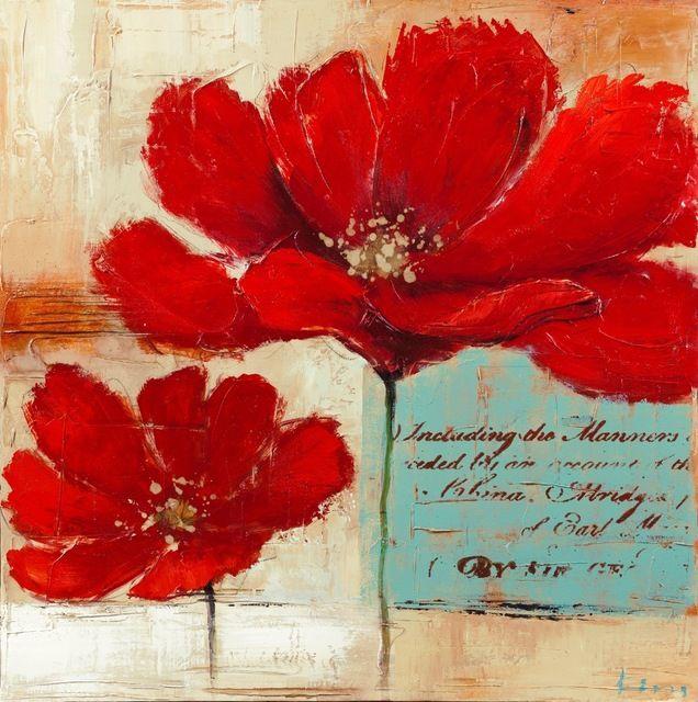 Fondo azul amapolas rojas flores de pintura al leo sobre - Pinturas para el hogar ...