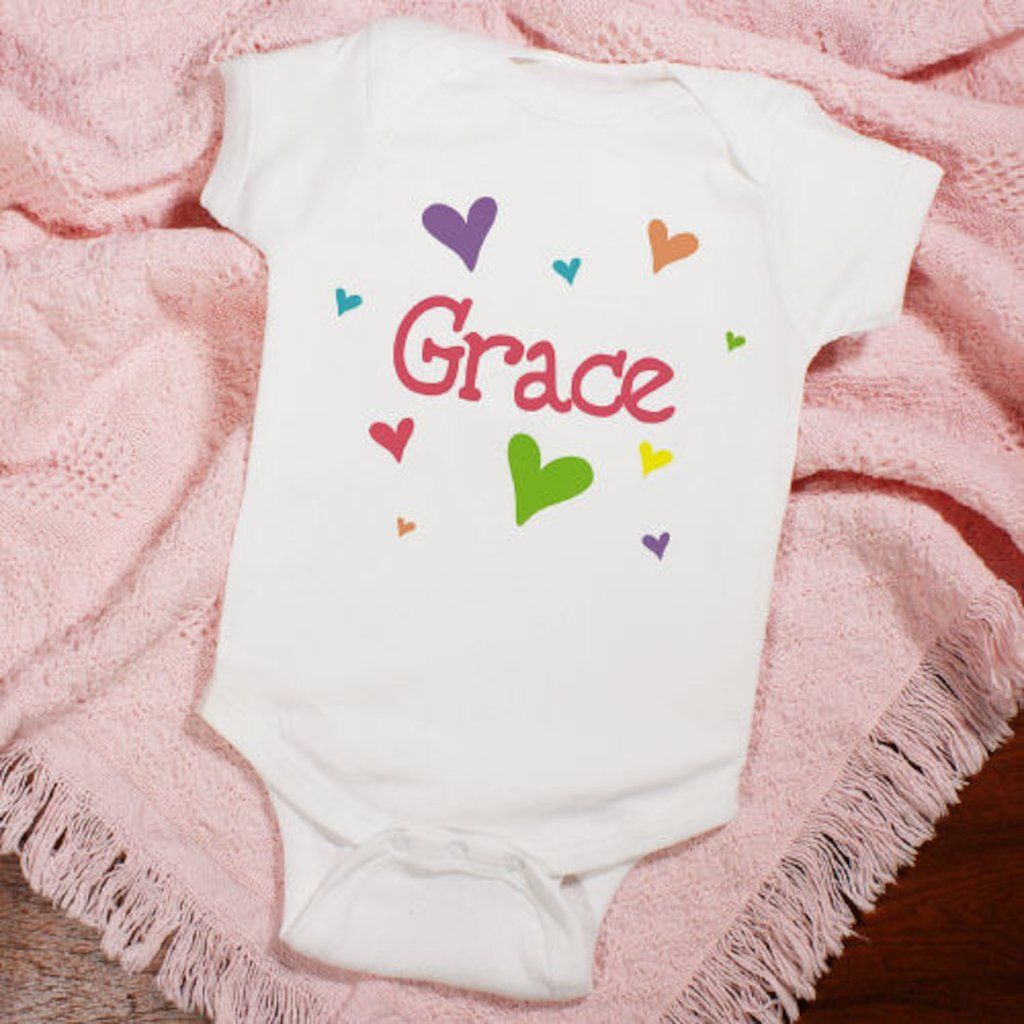 """Personalized New Baby """"She's All Heart"""" Infant Creeper - Gifts Happen Here - 1"""