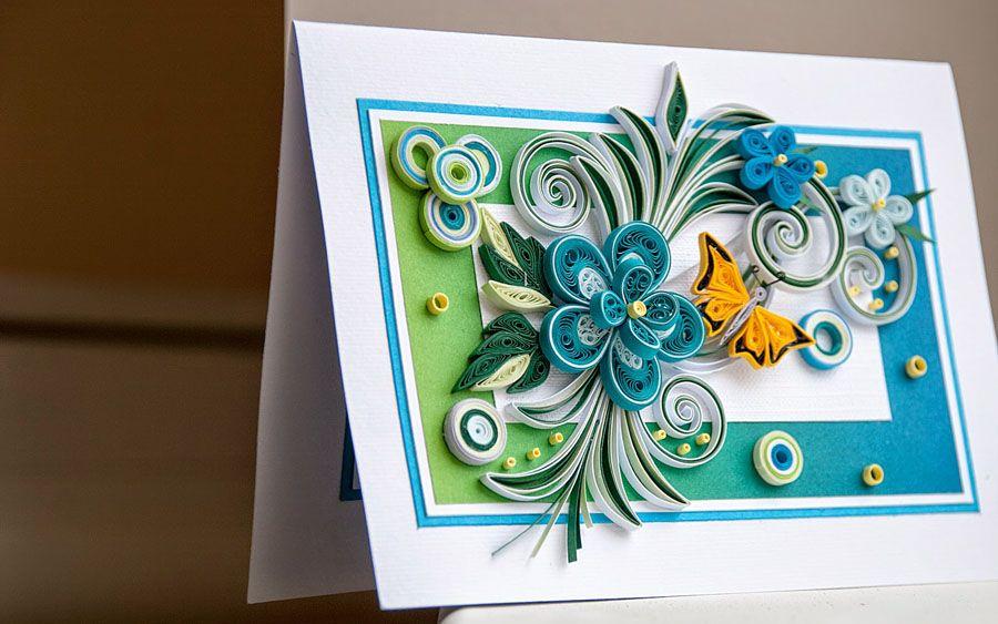 Поздравительную открытку, цена открытки из квиллинга