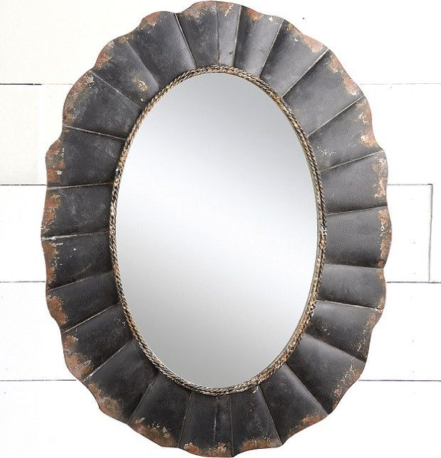 Oval Mirror With Distressed Metal Frame | Metals, Antique farmhouse ...