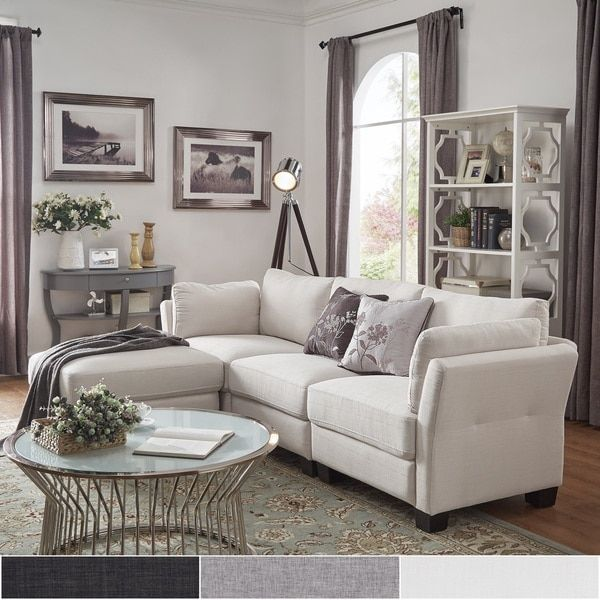 38 Small Yet Super Cozy Living Room Designs: Elize L-Shaped 4-Seat Linen Fabric Modular Sectional